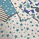 Хлопковая ткань польская звезды серо-бирюзовые большие и маленькие на белом №412, фото 7