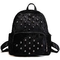 Рюкзак женский бархатный с бусинами (черный)