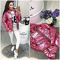 Новинка! Ассиметричная демисезонная куртка ( арт 210), цвет розовый