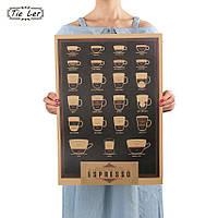 Постер Виды Кофе, в бар, ресторан 51см *35.5см