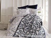 Комплект постельного белья + плед из ранфорс (хлопок) (евро размер)
