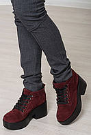 MUST HAVE 2018 замшевые ботиночки на шнурках цвет бордовый 36 - 40