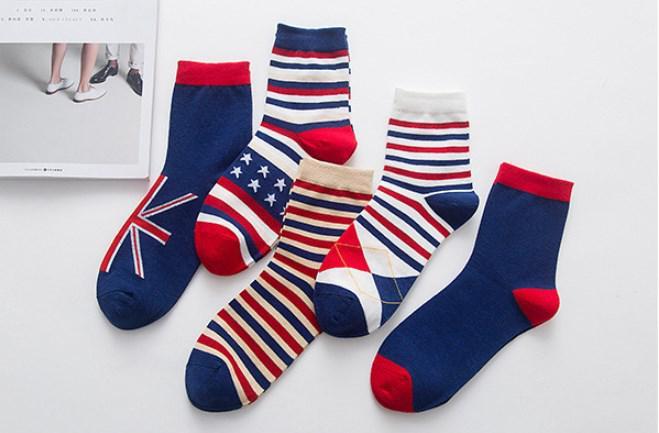 6083fc37c0f29 Набор мужских носков (5 пар) с флагами Британии и США. Размер: 39-43 ...