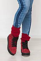 Замшевые  ботиночки на шнурках цвет красный 36 - 41