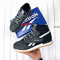 """Мужские высокие кроссовки  Reebok Classic """"Black/Grey"""""""