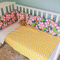 """Защитные бортики для детской кроватки, бортики на всю кроватку для новорожденных """"Маргаритка"""""""