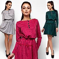 Теплое платье Рикки с поясом (42-48 в расцветках)