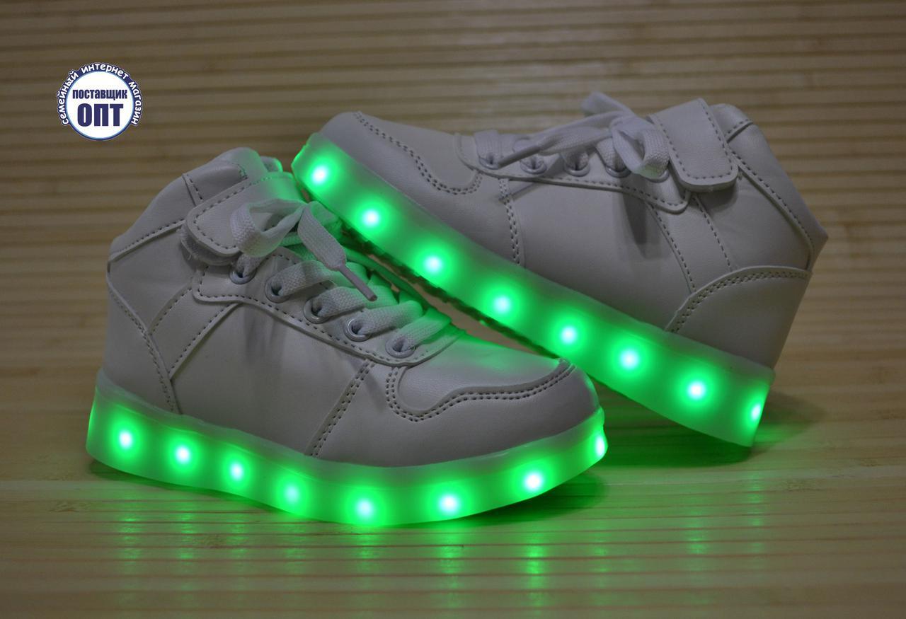 Высокие кроссовки со светящей LED подошвой зарядка USB кабелем 27-29 р
