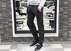 Мужские спортивные штаны Рибок Reebok серые с манжетами (реплика) на флисе
