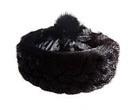 Меховая повязка на голову из норки (черная)