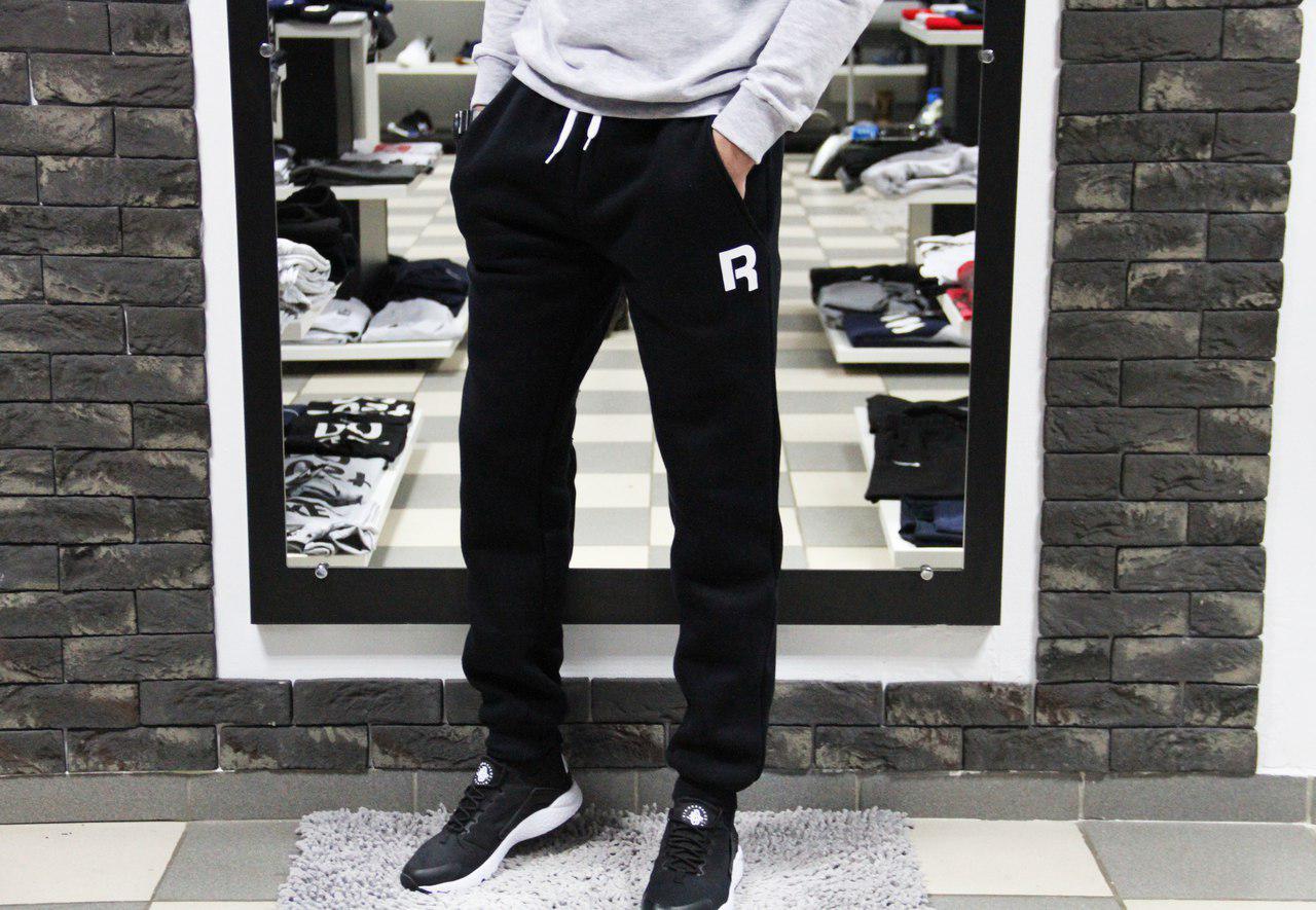 4f1f4f0f Мужские спортивные штаны Рибок Reebok чёрные с манжетами (реплика) на флисе