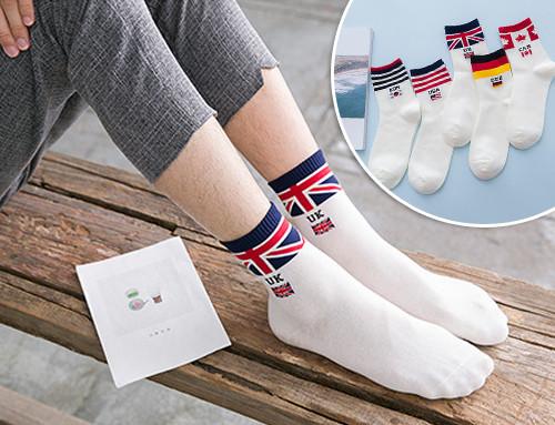 Комплект белых мужских носков (5 пар) с флагами Британии, Германии, Канады, США  и Кореи. Размер 39-43