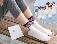 Комплект белых мужских носков (5 пар) с флагами Британии, Германии, Канады, США  и Кореи