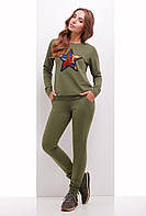 Спортивный костюм женский 1742 женская спортивная одежда, оливка, 48