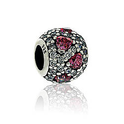 Серебряный шарм паве с прозрачным и ярко - розовым кубическим цирконием Pandora, 791249CZS
