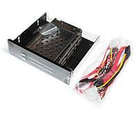 """Карман внутр 5,25"""" Maiwo M005 5,25"""" 5,25"""" для 2*HDD 2,5"""" SATA через SATA безвинтов. крепление нерж. сталь черн."""