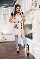 Женская стильная кашемировая жилетка с мехом  070