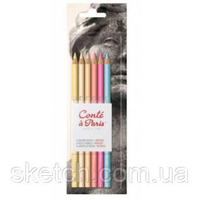 Набор пастельных карандашей Conte Portrait, 6 шт