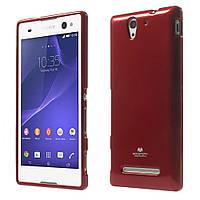 Чехол накладка силиконовый TPU Mercury для Sony Xperia C3 D2502 Dual D2533 красный