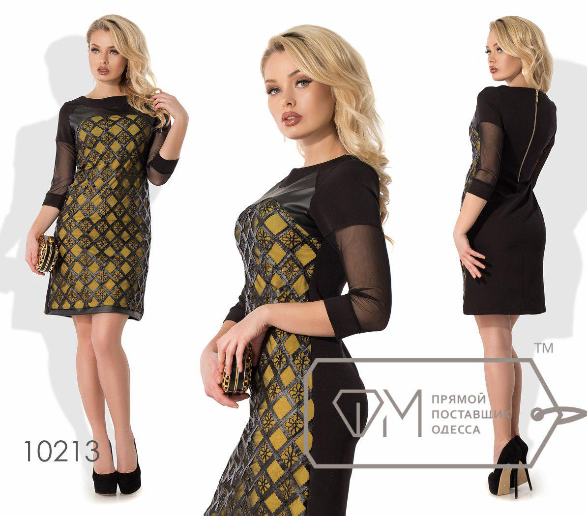 Платье-футляр мини полуприталенное из микромасла Размер: S.M.L
