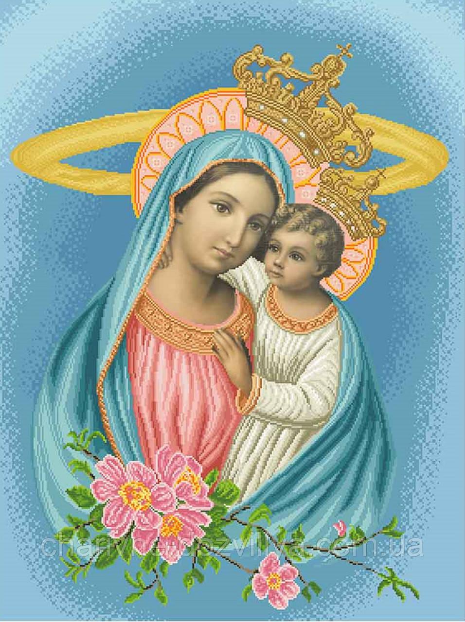 """Схема для вишивки бісером на атласі ікона """"Богородиця Яблуневий цвіт"""" (синій) великий розмір (60х80)"""