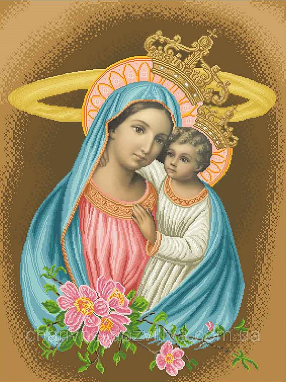 """Схема для вишивки бісером на атласі ікона """"Богородиця Яблуневий цвіт"""" (коричневий) великий розмір (60х80)"""