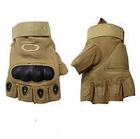 Перчатки тактические OAKLEY  (PL, открытые пальцы, протектор-усилен, р-р L-XL, койот)