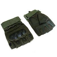 Перчатки тактические OAKLEY  (PL, открытые пальцы, протектор-усилен, р-р M-XL, оливковый)