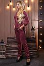 Женский брючный костюм трикотаж с лампасами прогулочный стильный повседневный марсала с люрексом, фото 5