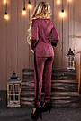 Женский брючный костюм трикотаж с лампасами прогулочный стильный повседневный марсала с люрексом, фото 3