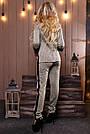 Женский брючный костюм трикотаж ангора с люрексом серый, фото 2