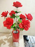 Искусственные цветы роза 7 бутонов высота 50см