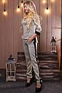 Женский брючный костюм трикотаж ангора с люрексом серый, фото 3
