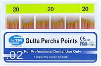 Gutta percha points № 20 02 HTM (штифты гуттаперчивые № 20 конусность 02)