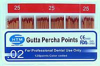Gutta percha points № 25 02 HTM (штифты гуттаперчивые № 25 конусность 02)