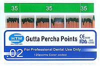 Gutta percha points № 35 02 HTM (штифты гуттаперчивые № 35 конусность 02)