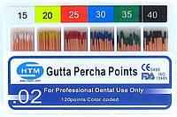 Gutta percha points № 15-40 02 HTM (штифты гуттаперчивые № 15-40 конусность 02)