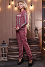 Женский брючный костюм р. от 44 до 50, трикотаж трёхнитка марсала, фото 5