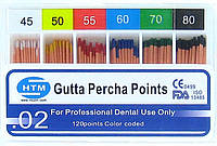 Gutta percha points № 45-80 02 HTM (штифты гуттаперчивые № 45-80 конусность 02)