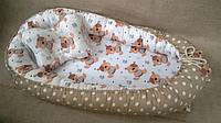 Подушка + позиционер для младенца, кокон, гнездышко, babynest Мишка Тедди