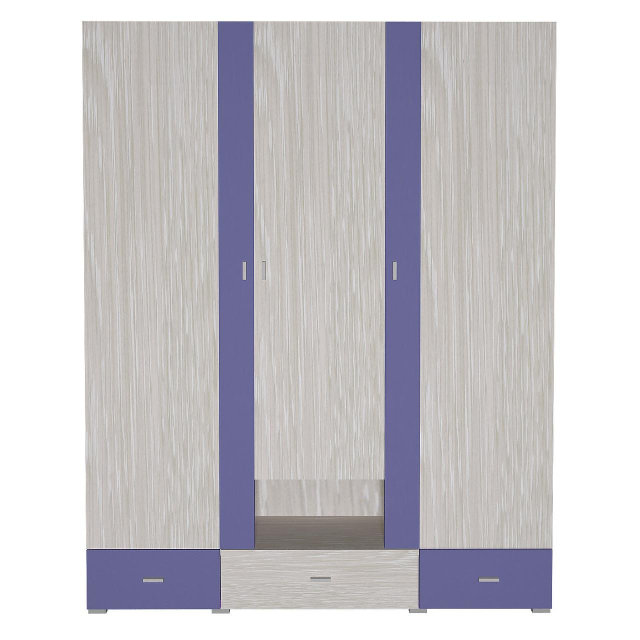 Шафа в дитячу кімнату з ДСП/МДФ AXEL A Blonski 3-х дверна атланта+синій