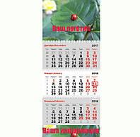 Календарь настенный квартальный на 3 пружины и 2 рекламных поля