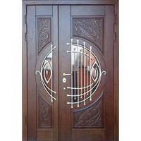 Двери в дом с ковкой и патиной