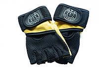 Перчатки для фитнеса с напульсником GYM Fitness (кожа, р-р L-XXL, желто-черный)