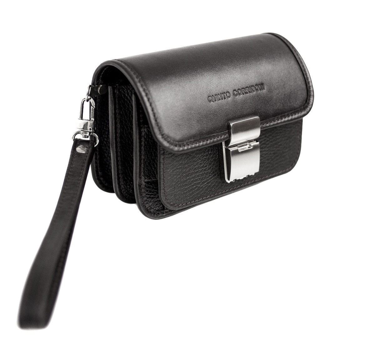 Кожаная сумка-барсетка Qvinto Corridoni QC110A, черный