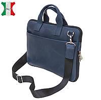 Компактная мужская кожаная сумка-портфель Black Diamond BD27D, синий