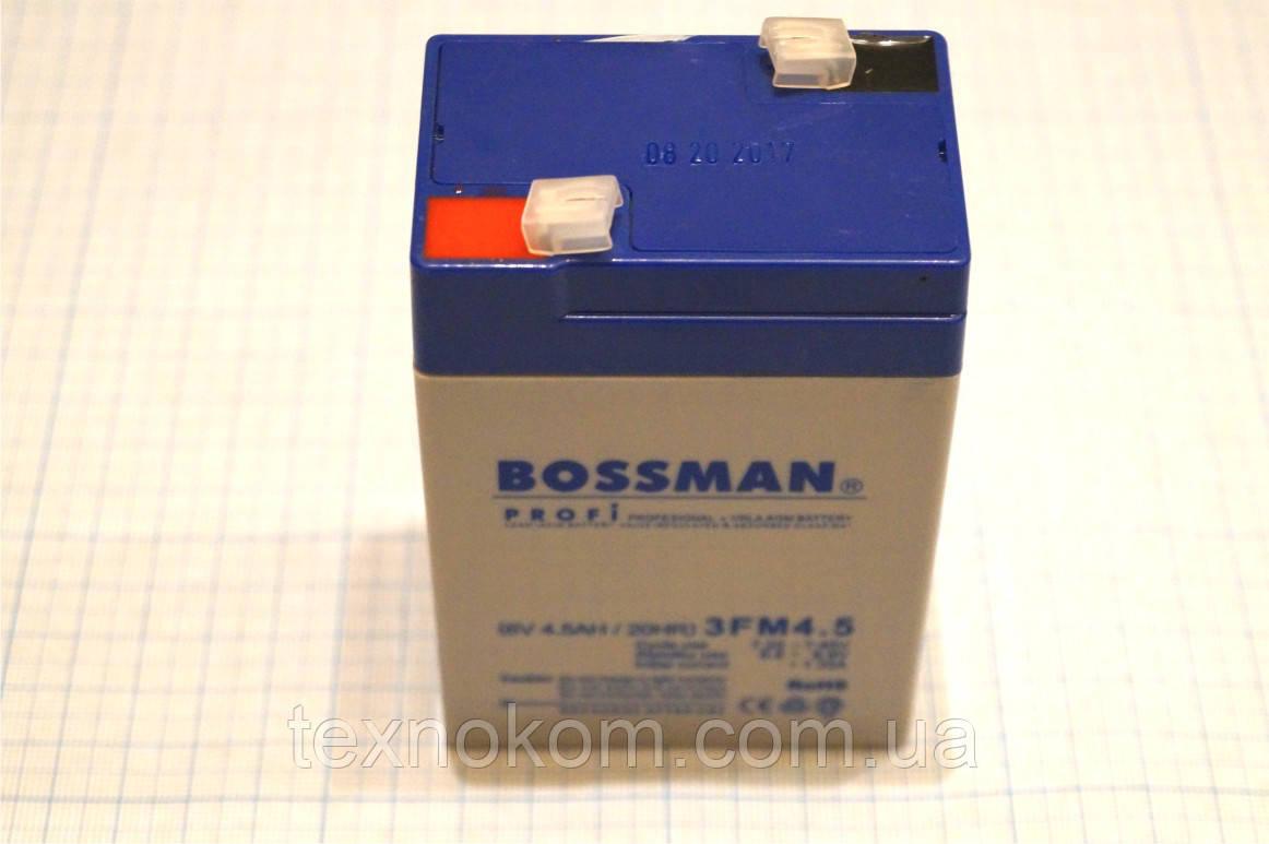 Аккумулятор Bossman 3FM4 6V4,5A, для детских машинок и электронных весов