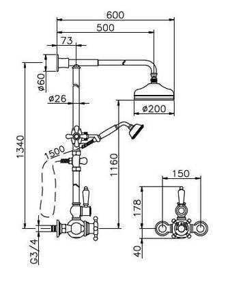 Душевая система Huber Victorian 590.VN21H.BA, фото 2