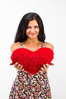 Большая плюшевая подушка сердце 30 см
