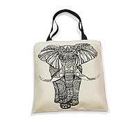 """Эко-сумка с черной ручкой """"Слон"""""""
